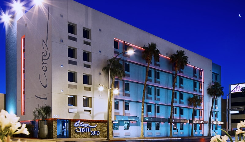 Exterior photo of the Cabana Suites at dusk