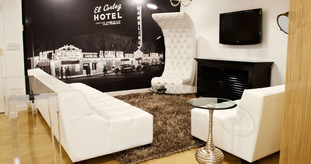 Photo of hip and modern living room in hotel suite